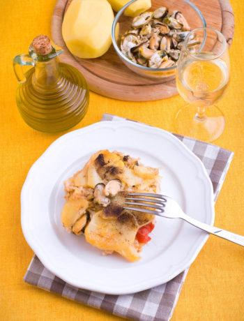 Tiella barese: riso patate e cozze