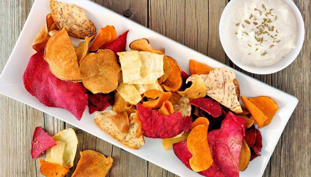 Chips di verdure disidratate